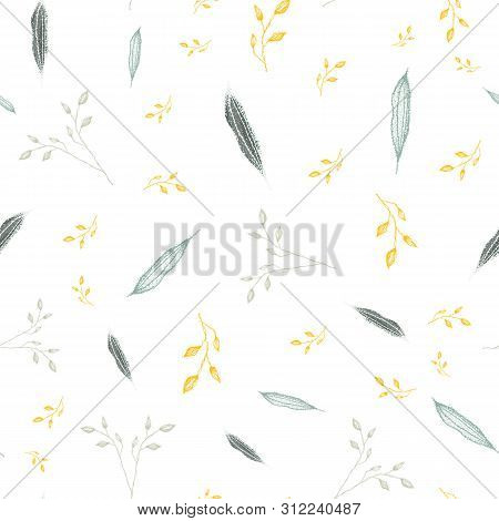 Delicate Hand Drawn Silver, Grey Foliage With Accent Gold Color. Seamless Vector Pattern On White Ba