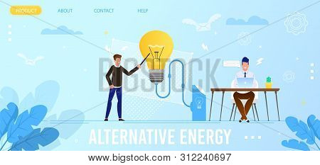 Alternative Energy Flat Landing Page. Homepage Mockup With Cartoon Men Characters Brainstorming And