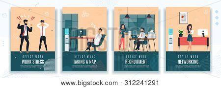 Work Stress, Taking Nap, Recruitment, Networking Poster Set. Break Time, Hr, Failure Deadline. Woman