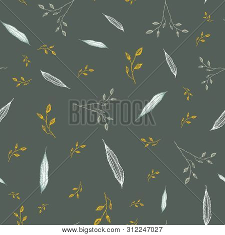 Delicate Hand Drawn Silver, Grey Foliage With Accent Gold Color. Seamless Vector Pattern On Slate Ba