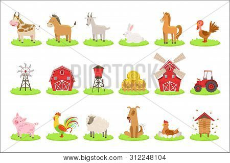 Farm Associated Animals And Objects Set. Cute Simple Design Illustrations In Bright Color Isolated