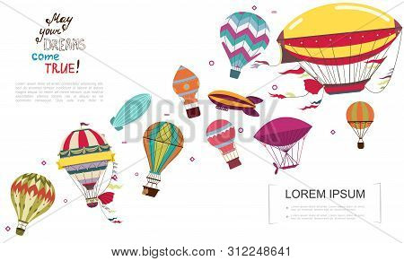 Flat Obsolete Air Transportation Concept With Airships And Colorful Hot Air Balloons Vector Illustra