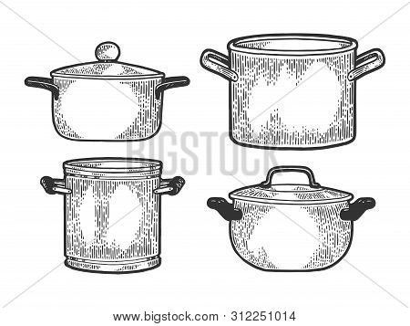 Pan Casserole Pot Set Kitchen Utensils Sketch Engraving Vector Illustration. Scratch Board Style Imi