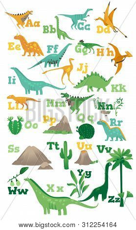 Alphabet For Children With Cute Cartoon Dinosaurs, Ancient Volcanoes, Mountains And Plants In A Flat