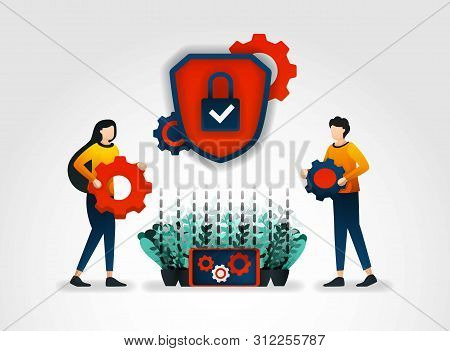 Flat Character. Security Service Provider Companies Provide Security Officer Training To Improve Sec