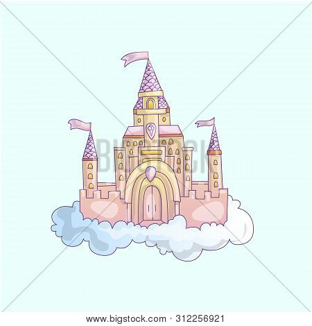 Vector Cartoon Illustration Of Pink Princess Magic Castle In Clouds. Pink Princess Magic Castle In B