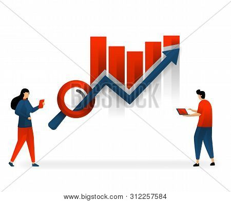Business And Promotion Of Vector Illustration. Determine And Choose Seo To Improve Traffic Statistic