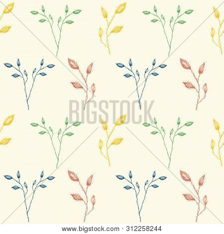 Delicate Hand Drawn Vintage Inspired Foliage In Red, Green And Blue. Seamless Geometric Vector Patte