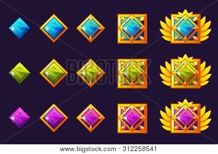 Gems Award Progress. Golden Amulets Set With Square Jewelry. Vector Icons Assets For Game Design.