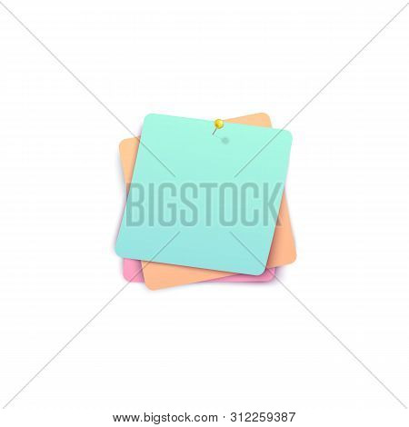Three Color Stickers Tacked Together By Pushpin Realistic Style