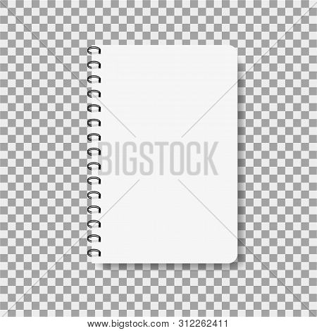Realistic Notebook In Mockup Style. Blank Notepad With Spiral. Template Of Empty Notepad On Isolated