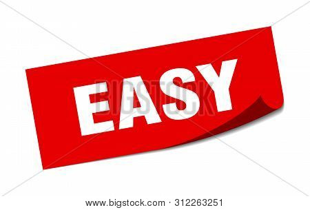 Easy Sticker. Easy Square Isolated Sign. Easy