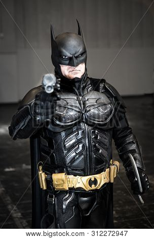 Nec, Birmingham, Uk - June 1, 2019. A Male Cosplayer Dressed As Batman From The Dc Comic Franchise O