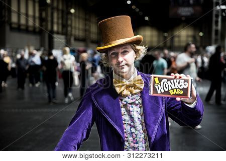 Nec, Birmingham, Uk - June 1, 2019. A Male Cosplayer Dressed As Willy Wonka From The Charlie And The