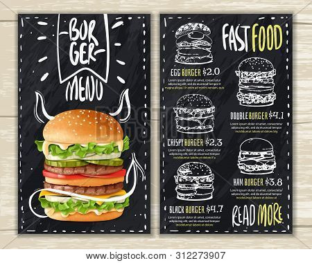 Realistic Burger Menu. Fast Food Burgers Menu On Wooden Surface With A List Of Hamburgers On A Chalk