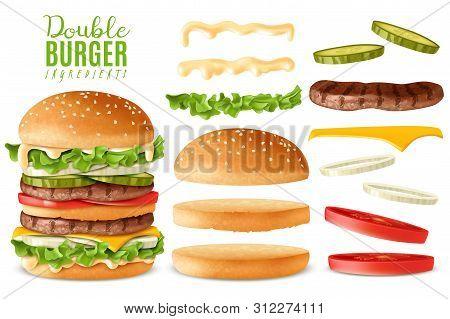 Realistic Double Burger Elements Set. Realistic Ready Big Double Burger With Isolated Elements Which