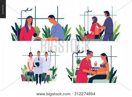 Set Of Medical Insurance Illustrations - Blood Pressure Test, Auscultation, Medical Guide, Routine P