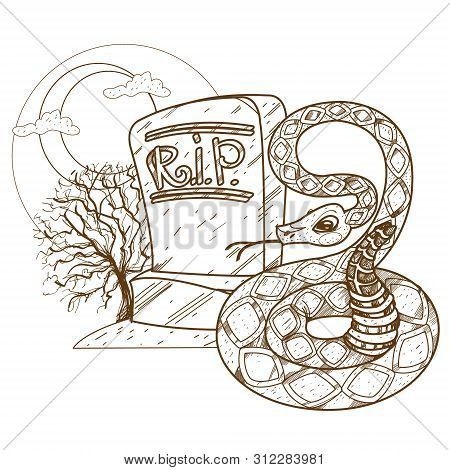 Headstone. Rest In Peace. Design Gaming Applications, Game Background, Theatrical Scenery.