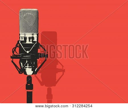 Vector Banner With Studio Microphone On The Red Background In Realistic Style. Professional Sound Re