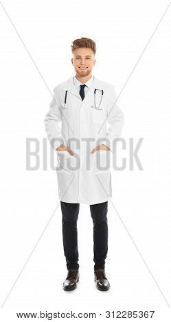 Full Length Portrait Of Medical Doctor With Stethoscope Isolated On White