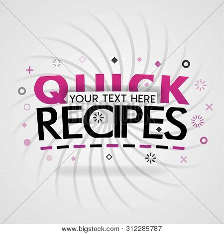 Pink Logo For Quick Recipes. For Recipe Websites, Food Blog, Today Recipes, Buy Food Mobile App, Fre