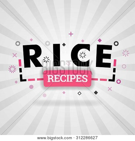 Pink Logo For Rice Recipes. For Recipe Websites, Food Blog, Today Recipes, Buy Food Mobile App, Free