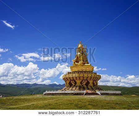 Sichuan, China - Aug 18, 2016. Facade Of Big Buddha In Garze Tibetan, Sichuan, China. Tibetan Buddhi