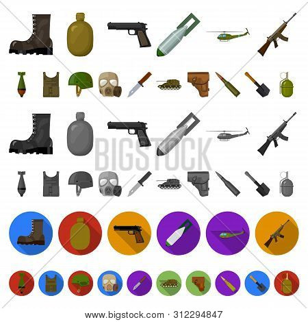 Army And Armament Cartoon Icons In Set Collection For Design. Weapons And Equipment Bitmap Symbol St