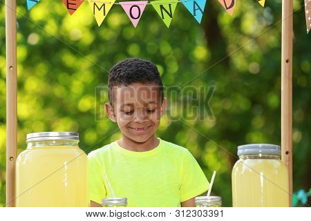 Cute Little African-american Boy With Money At Lemonade Stand In Park. Summer Refreshing Natural Dri
