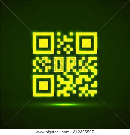Qr Code Neon Icon. Glowing Logo, Barcode Identification. Vector
