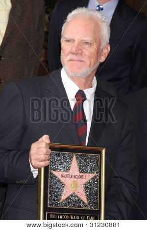 LOS ANGELES - MAR 16:  Malcolm McDowell at the Malcolm McDowell Walk of Fame Star Ceremony for The Muppets at the Hollywood Boulevard on March 16, 2012 in Los Angeles, CA