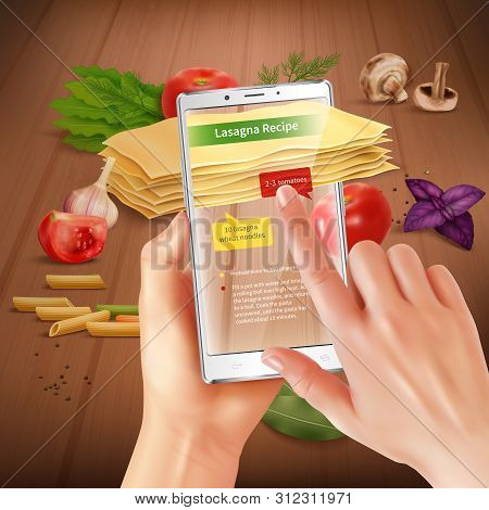 Smartphone Augmented Virtual Reality Touch Screen Cooking Application Recognizing Lasagna Ingredient