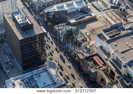 Los Angeles, California, USA - August 6, 2016:  Aerial view of popular Hollywood Blvd near the famous Chinese Theater in Hollywood, California.