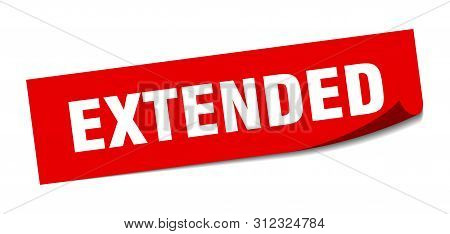 Extended Sticker. Extended Square Isolated Sign. Extended