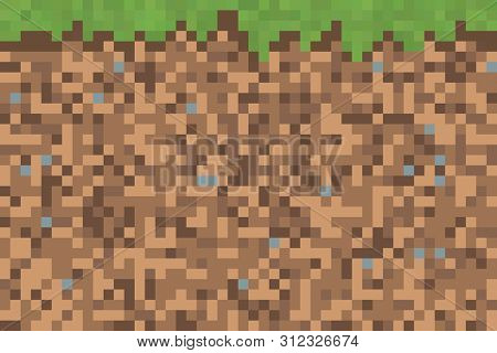 An illustration of a 8 bit ground with grass
