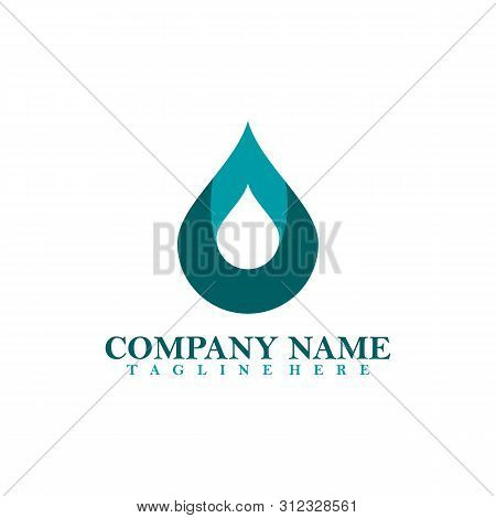 Water-drop Logo Abstract Infinite Design Vector Template. Aqua Droplet Icon. Natural Mineral Water D
