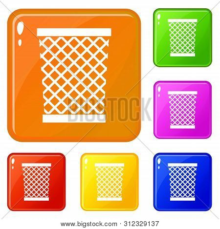 Wastepaper Basket Icons Set Collection Vector 6 Color Isolated On White Background