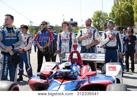 July 14, 2019 - Toronto, Ontario, CAN: MATHEUS LEIST (4) of Brazil prepares to race for the Honda Indy Toronto at Streets of Toronto in Toronto Ontario.