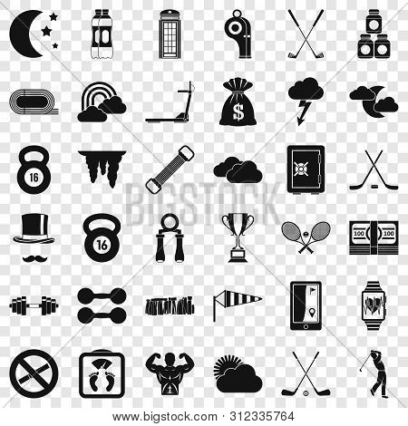 Weight Icons Set. Simple Style Of 36 Weight Vector Icons For Web For Any Design