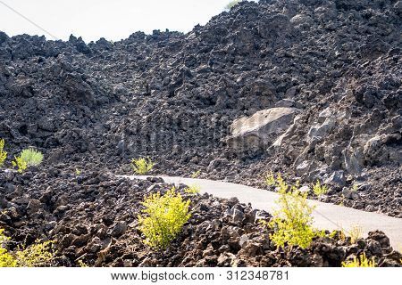 Trail To Lava Butte On The Trail Of Molten Lands In Newberry National Volcanic Monument In Oregon
