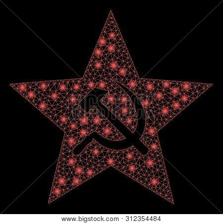 Flare Mesh Communism Star With Glow Effect. Abstract Illuminated Model Of Communism Star Icon. Shiny
