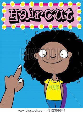 Cute Black Boy With Long Untidy Hair Cartoon Vector Illustration