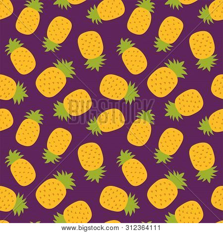 Pineapple Seamless Pattern. Hand Drawn Fresh Ananas. Vector Sketch Background. Color Doodle Exotic T