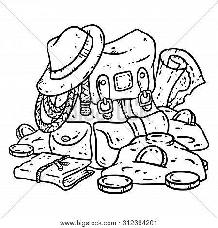 Adventurer Pack Lineart Illustration For Coloring. Treasure Hunter Comic Style Sketch. Archaeologist