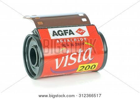 Niedersachsen, Germany July 20, 2019: A Roll Of Agfa Vista Colour 35mm Camera Film Lying On A White