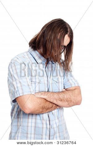 Young Long Haired Man Fashion Portrait