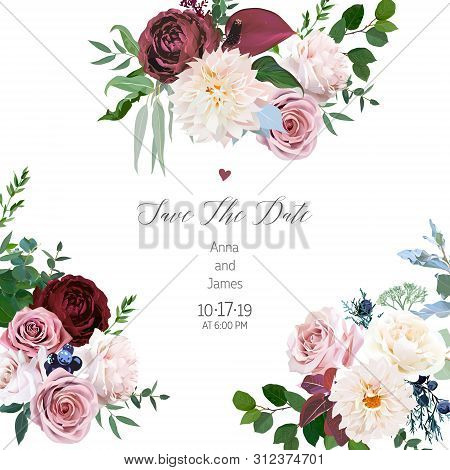 Floral Vector Design Square Sides Frame.desert Cinnamon, Brown, Dusty Pink And Creamy Roses, Dahlia,