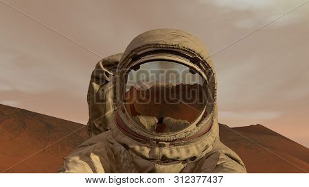 3d Rendering. Colony On Mars. Astronaut Sitting On Mars And Admiring The Scenery. Exploring Mission