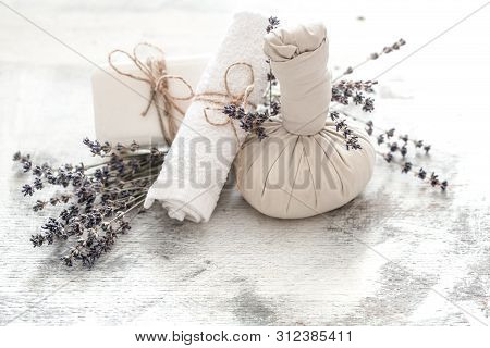 Spa And Wellness Setting With Flowers And Towels. Bright Composition With Lavender Flowers. Dayspa N