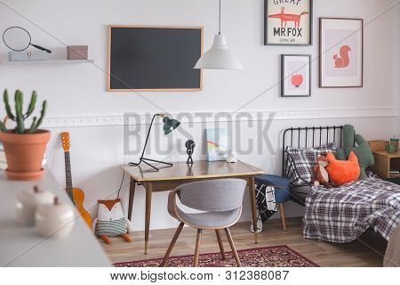 Mid Century Furniture In Genderless White Bedroom For Kid